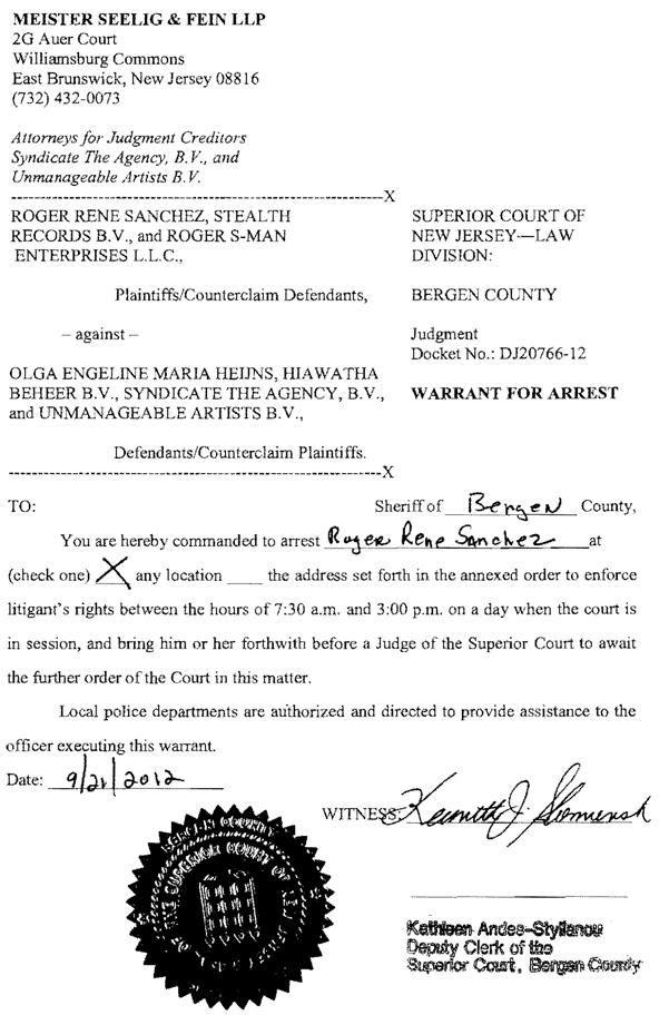 Roger Sanchez Arrest Warrant Hammarica PR Electronic Dance Music News